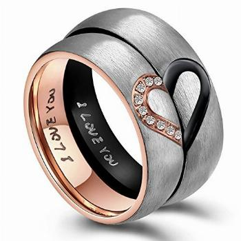 ANAZOZ Hers & Women's Stainless Steel for Real Love Heart