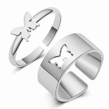 Butterfly Rings for Couples Rings Silver Butterfly Matching