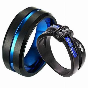 ringheart Two Rings Couple Rings Black and Blue Plated