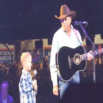 The King of Country brought his grandson, Harvey Strait, to the stage at RodeoHouston to sing